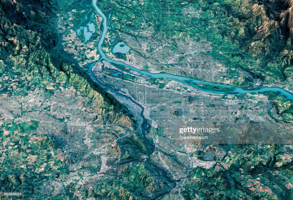 Portland 3D-Render Satelliten Ansicht topographische Karte Horizontal : Stock-Foto