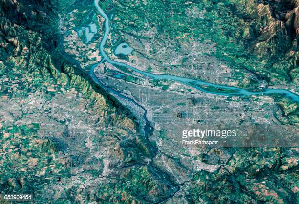 portland 3d render satellite view topographic map horizontal - topography stock pictures, royalty-free photos & images