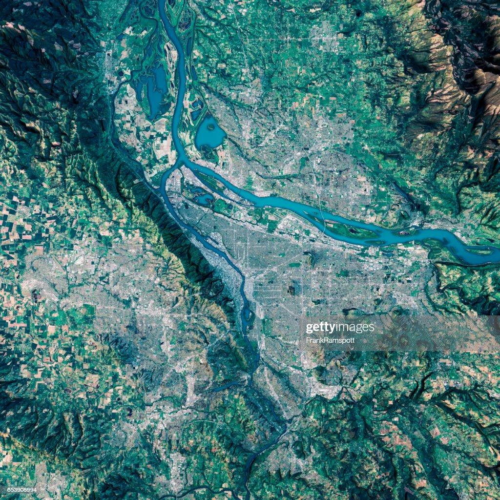 Portland 3D-Render Sat-topographische Karte anzeigen : Stock-Foto