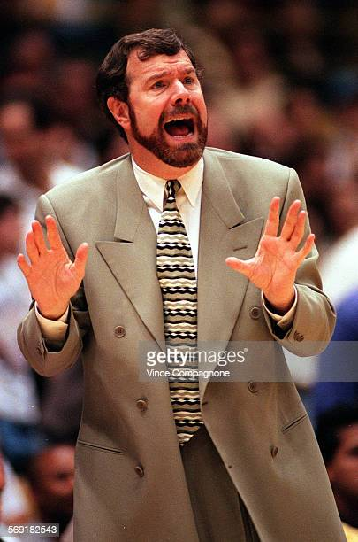 Portland Blazers coach PJ Carlesimo is animated on the sidelines as he yells instructions to his team during game two of the first round playoffs...