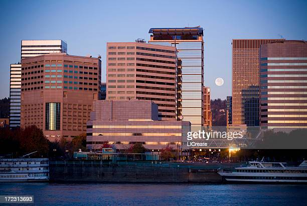 portland city skyline with full moon - willamette river stock photos and pictures