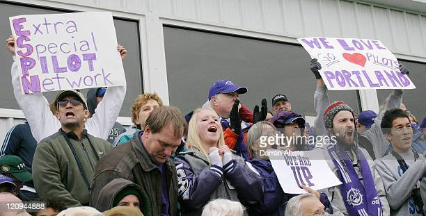 Portland fans celebrate in the stands during the 2005 NCAA Women's College Cup championship game between the University of California Los Angeles...