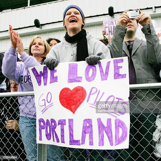 Portland fans celebrate the win after the 2005 NCAA Women's College Cup championship game between the University of California Los Angeles Bruins and...