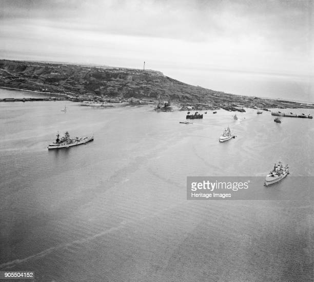 Portland Harbour Dorset 1946 The port and harbour from the north HMS 'Nelson' and two other battleships at anchor Also visible are a string of...