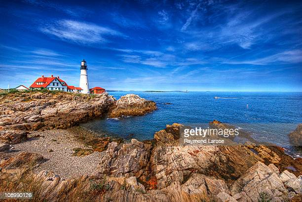 portland head hdr - portland maine stock pictures, royalty-free photos & images