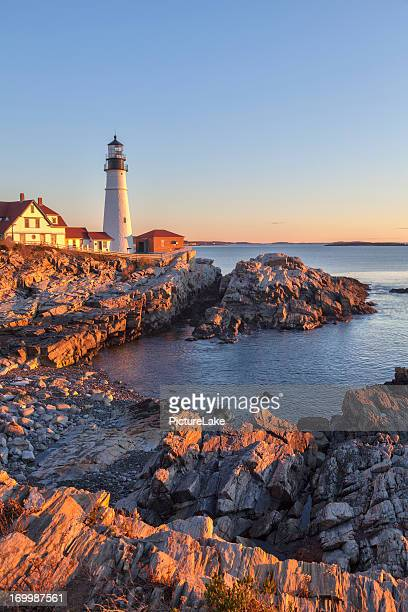portland head light (farol) do nascer do sol, maine - maine - fotografias e filmes do acervo