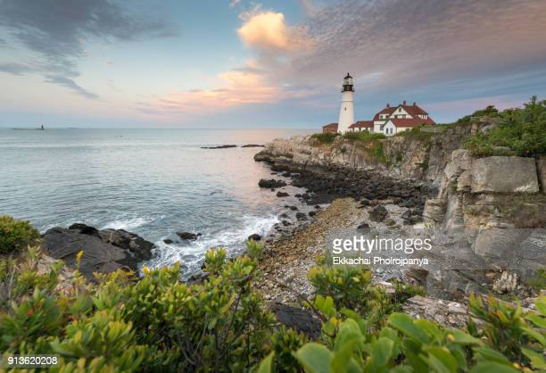 portland head light - cape elizabeth, me., usa - maine stock pictures, royalty-free photos & images