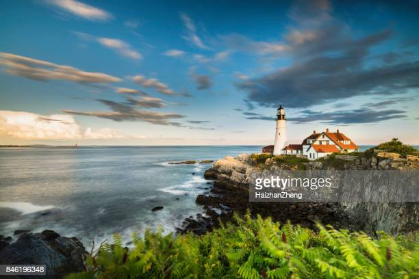 portland head light - portland maine stock photos and pictures