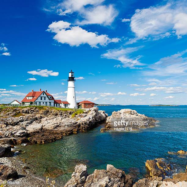 portland head lighthouse in maine - maine stock pictures, royalty-free photos & images