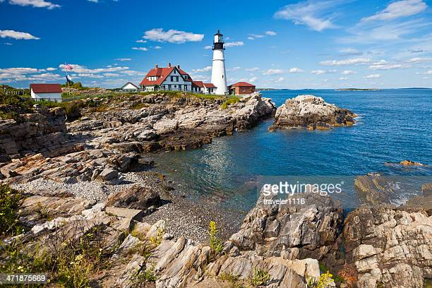 portland head lighthouse in maine, usa - maine stock pictures, royalty-free photos & images
