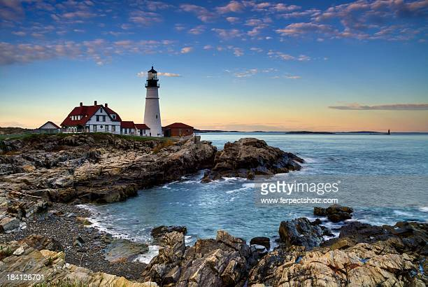 portland head lighthouse - new england usa stock pictures, royalty-free photos & images