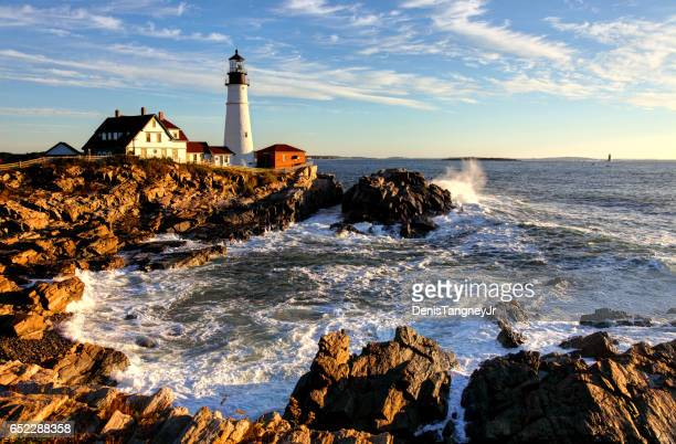portland head lighthouse - coastline stock pictures, royalty-free photos & images
