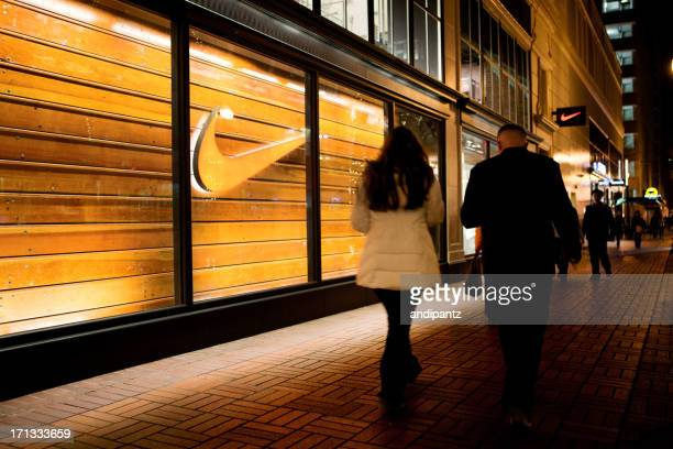 portland nike store - nike designer label stock pictures, royalty-free photos & images