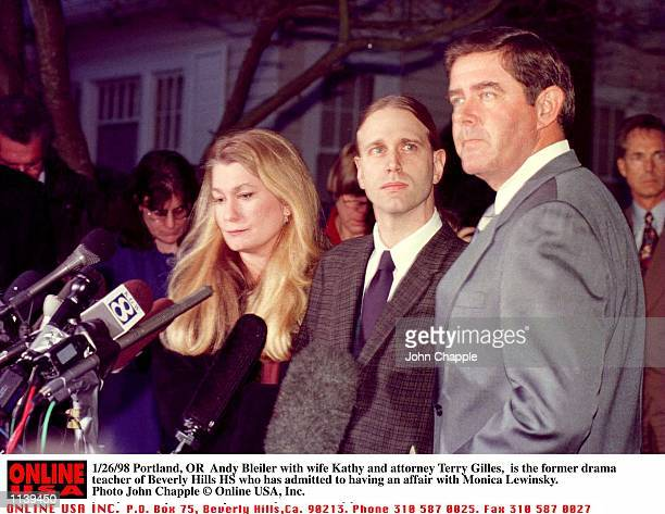 Portland OR Andy Bleiler with wife Kathy and attorney Terry Gilles is the former drama teacher of Beverly Hills HS who has admitted to having an...