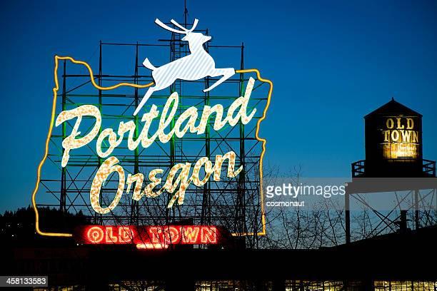 portland, oregon, neon sign - portland oregon stock pictures, royalty-free photos & images