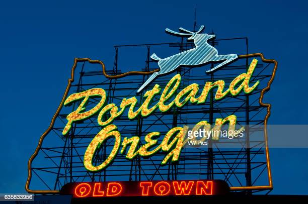 Portland Oregon sign at dusk Old Town Portland