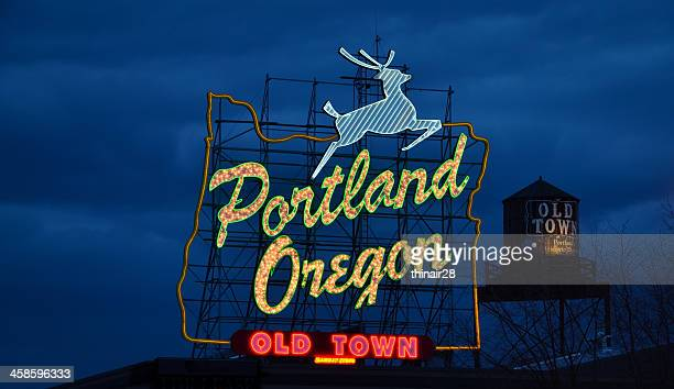 portland oregon sign - portland oregon stock pictures, royalty-free photos & images
