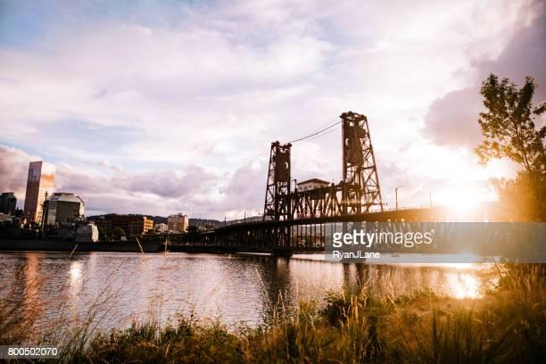 portland oregon steel bridge - willamette river stock photos and pictures