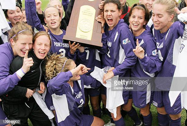 Portland players celebrate their win with the championship trophy after the 2005 NCAA Women's College Cup championship game between the University of...
