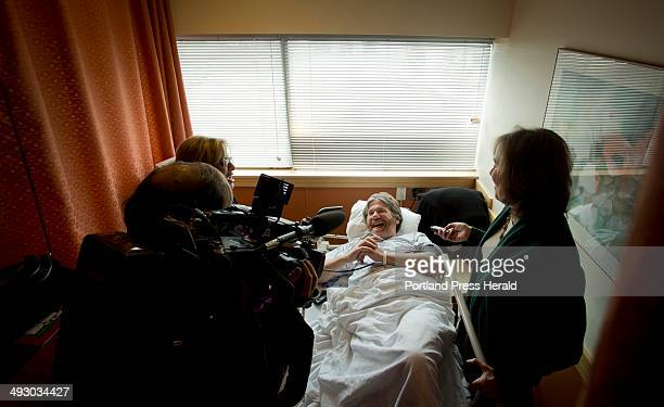 Portland Press Herald columnist Bill Nemitz shares a laugh with WGME anchor Kim Block at top left while in the recovery room at the Portland...