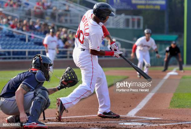 Portland Sea Dogs vs Binghamton Rumble Ponies Portland's Jeremy Barfield singles to left field to drive in Chad De La Guerra for what turned out to...