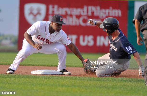 Portland Sea Dogs vs Binghamton Rumble Ponies Sea Dog second baseman josh Tobias tags out Binghamton's Kevin Kaczmarski on a steal attempt in the...