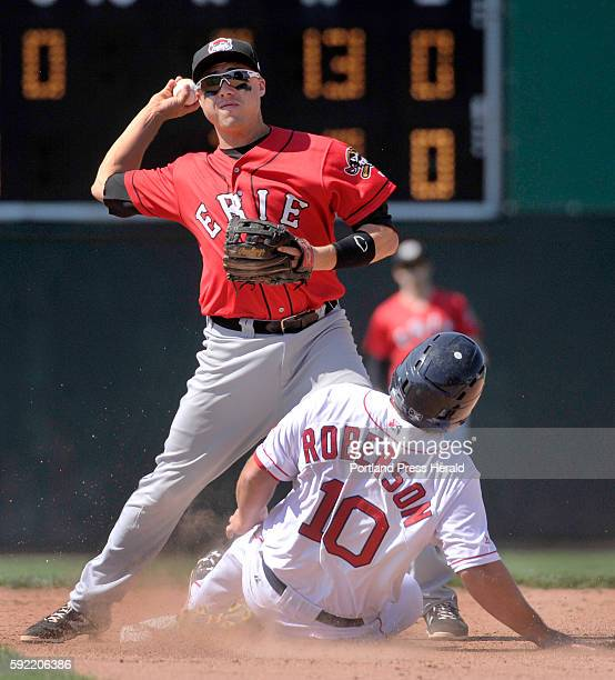 Portland Sea Dogs vs Erie Sea Wolves at Hadlock Field Erie second baseman Corey Jones forced Sea Dog Tim Roberson but was unable to complete the...