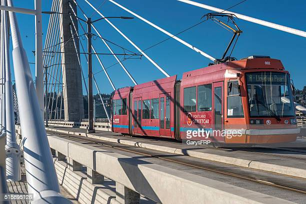 Portland Streetcar Train Tilikum Crossing Bridge Downtown Portland Oregon