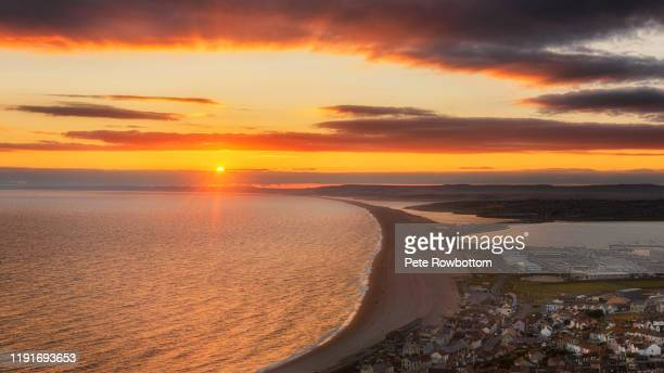 portland sunset - weymouth dorset stock pictures, royalty-free photos & images