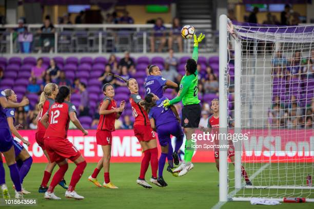 Portland Thorns FC goalkeeper Adrianna Franch saves a shot on goal during the soccer game between the Orlando Pride and the Portland Thorns on August...