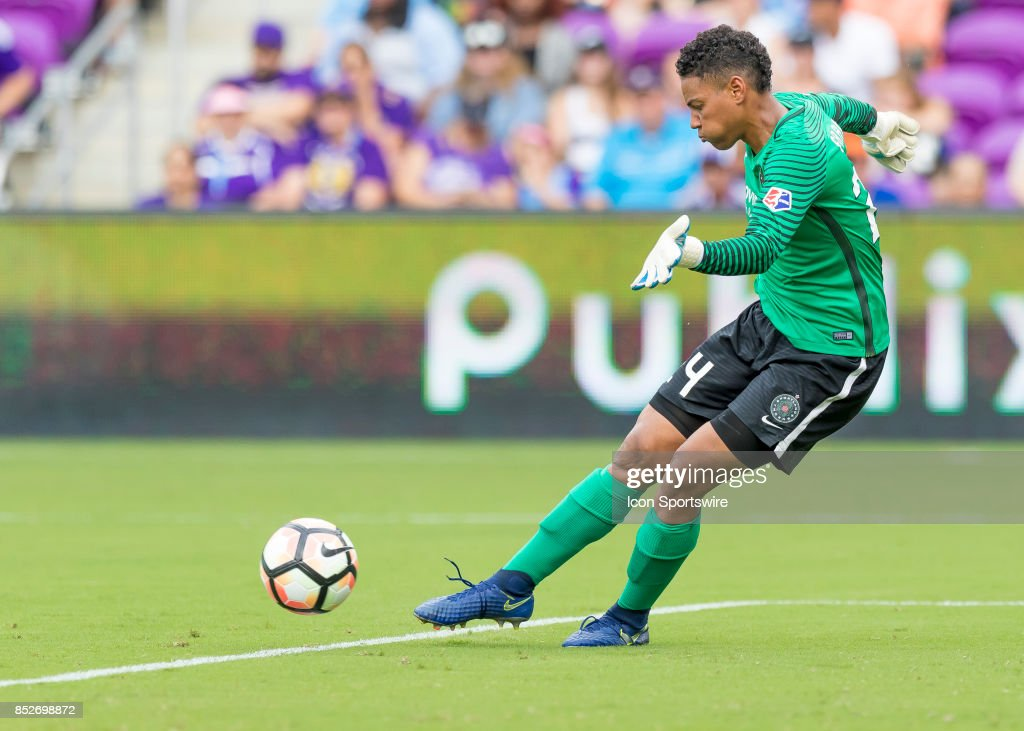 Portland Thorns FC goalkeeper Adrianna Franch (24) takes a goal kick during the NWSL soccer match between the Orlando Pride and the Portland Thorns on September 23rd, 2017 at Orlando City Stadium in Orlando, FL.