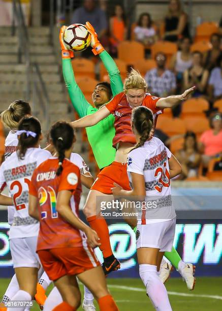 Portland Thorns FC goalkeeper Adrianna Franch traps the ball during the soccer match between the Portland Thorns and Houston Dash on June 22 2018 at...