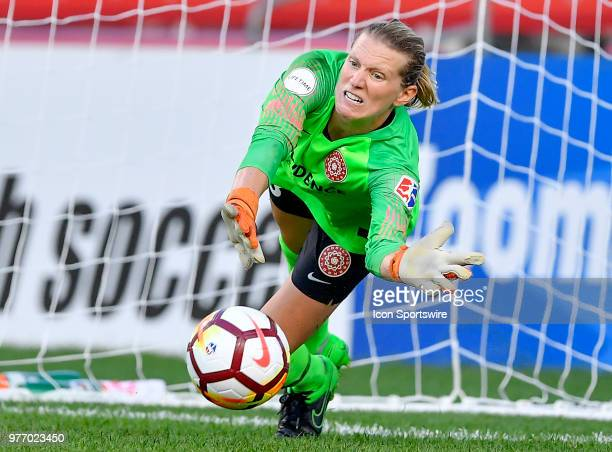 Portland Thorns FC goalkeeper Britt Eckerstrom makes a save on a penalty kick against the Chicago Red Stars on June 16 2018 at Toyota Park in...