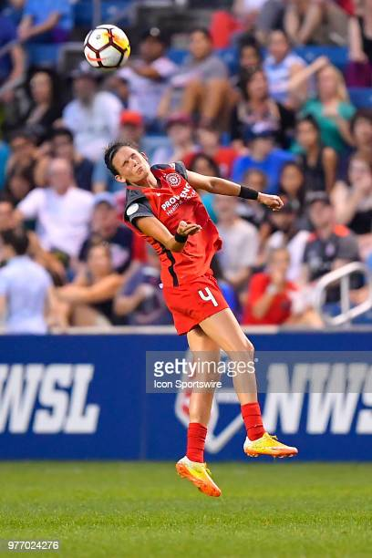 Portland Thorns FC's Emily Menges heads the ball against the Chicago Red Stars on June 16 2018 at Toyota Park in Bridgeview Illinois