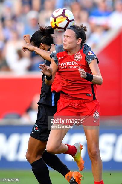 Portland Thorns FC's Emily Menges heads the ball Chicago Red Stars's Yki Nagasato on June 16 2018 at Toyota Park in Bridgeview Illinois