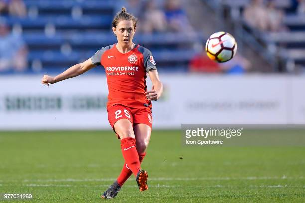 Portland Thorns FC's Meghan Klingenberg passes the ball against the Chicago Red Stars on June 16 2018 at Toyota Park in Bridgeview Illinois