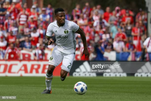 Portland Timbers defender Alvas Powell dribbles the ball during the soccer match between the Portland Timbers and FC Dallas on March 24 2018 at...