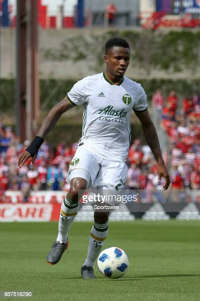 Portland Timbers defender Alvas Powell handles the ball during the soccer match between the Portland Timbers and FC Dallas on March 24 2018 at Toyota...