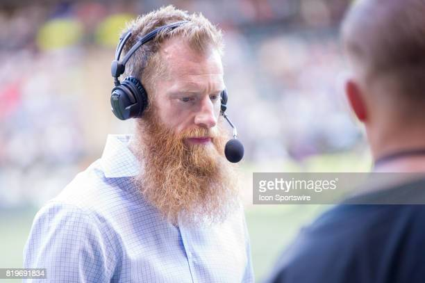 Portland Timbers former defender Nat Borchers in broadcasting duties moments before the start of the Real Salt Lake 41 victory over the Portland...