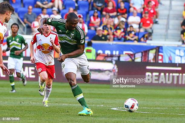 Portland Timbers forward Fanendo Adi during the second half of the game between the New York Red Bulls and the Portland Timbers played at Red Bull...