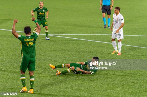 Portland Timbers forward Felipe Mora picks a cross from Renzo Zambrano and scores for Portland during the MLS match between the Los Angeles Galaxy...