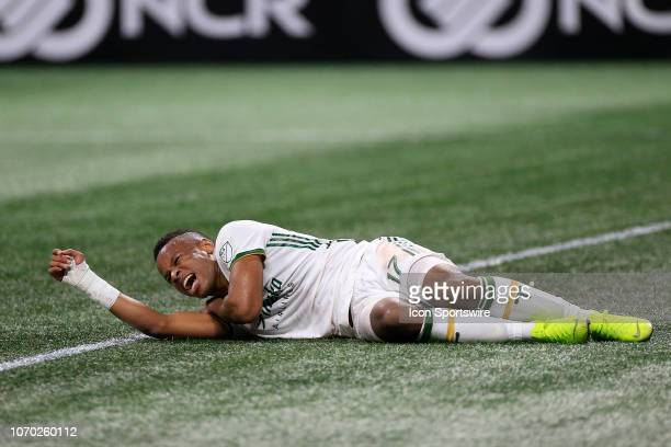 Portland Timbers forward Jeremy Ebobisse agonizes in pain during the MLS Cup between the Atlanta United FC and the Portland Timbers on December 8...