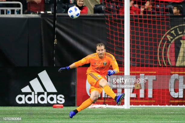 Portland Timbers goalkeeper Jeff Attinella kicks the ball downfield during the MLS Cup between the Atlanta United FC and the Portland Timbers on...