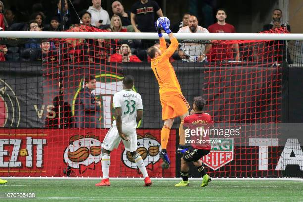 Portland Timbers goalkeeper Jeff Attinella saves a shot on goal during the MLS Cup between the Atlanta United FC and the Portland Timbers on December...