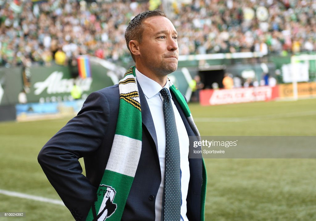 Portland Timbers head coach Caleb Porter prior to the start of the game during a Major League Soccer match between the Chicago Fire and Portland Timbers on July 5, 2017 at Providence Park in Portland, Oregon.