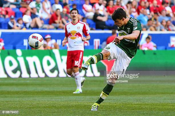 Portland Timbers midfielder Ben Zemanski shoots during the second half of the game between the New York Red Bulls and the Portland Timbers played at...