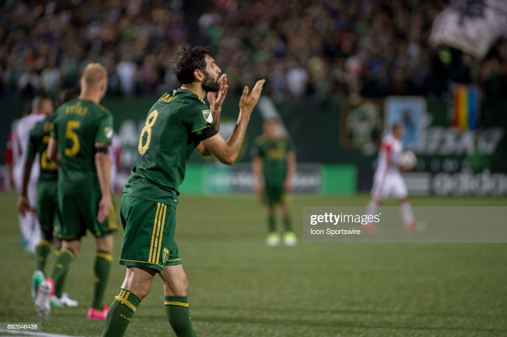 Portland Timbers midfielder Diego Valeri celebrates his second goal on the Portland Timbers 2-0 victory over the San Jose Earthquakes on June 2, 2017 at Providence Park, Portland, Oregon (Photo by Diego Diaz/Icon Sportswire via Getty Images).