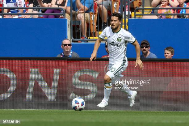 Portland Timbers midfielder Sebastian Blanco dribbles with the ball during the soccer match between the Portland Timbers and FC Dallas on March 24...
