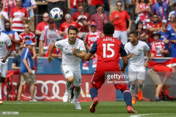 Portland Timbers midfielder Sebastian Blanco runs towards a loose ball during the soccer match between the Portland Timbers and FC Dallas on March 24...