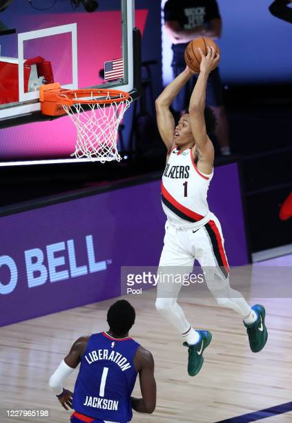 Portland Trail Blazers guard Anfernee Simons dunks during the first half against the LA Clippers in an NBA basketball game at HP Field House at ESPN...
